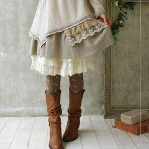 Image 3 - Primavera outono mori menina feminino elástico algodão lolita meias pequeno jacquard arco rústico macacão macio elástico elegante meias d105