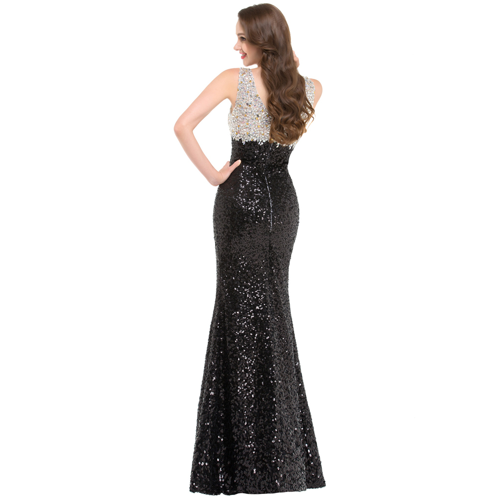 Sparkle High Quality Black Sequins Evening Dress Double V neck Split  Beading Formal Evening Gown Luxury Party Dress GK000022-in Evening Dresses  from ... 56bc431bd7e6