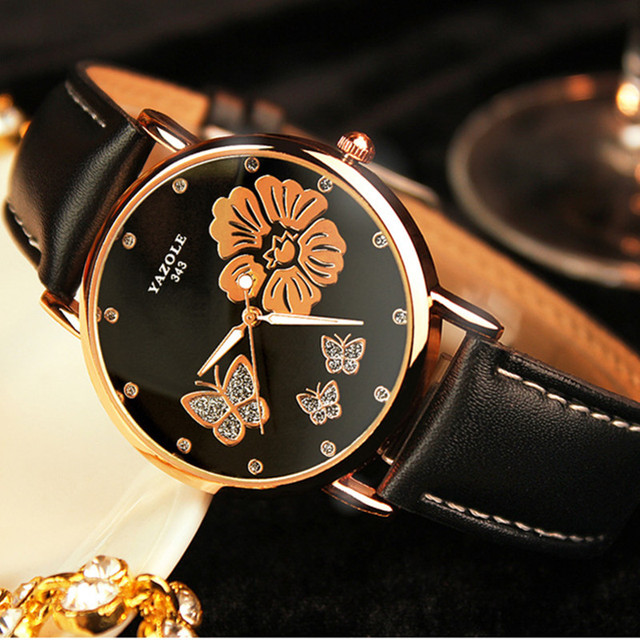Top Brand YAZOLE Fashion Butterfly Rose Gold Watch Women Watches Luxury Rhinesto
