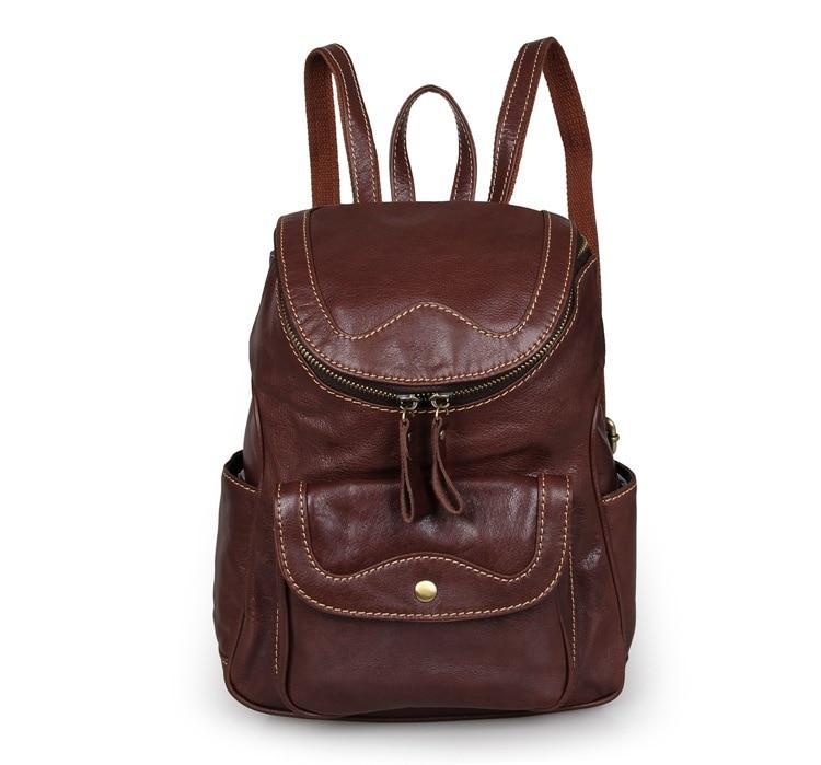 Nesitu Vintage Brown Genuine Leather Small Lady Women Backpacks Cowhide Cute Teenagers Girl Backpack M7303