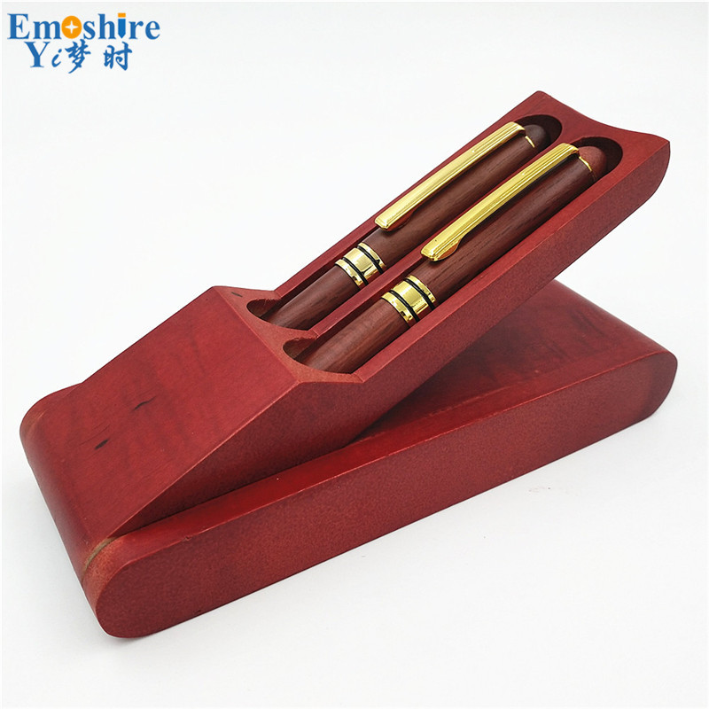Emoshire New Creative Signature Pen Roller Ball Pen and Fountain Pen Set Wooden Office Stationery for Company Gift P040 emoshire wedding gift sets for man business collections chinese pen set with cufflinks wooden fountain pen and box pc009