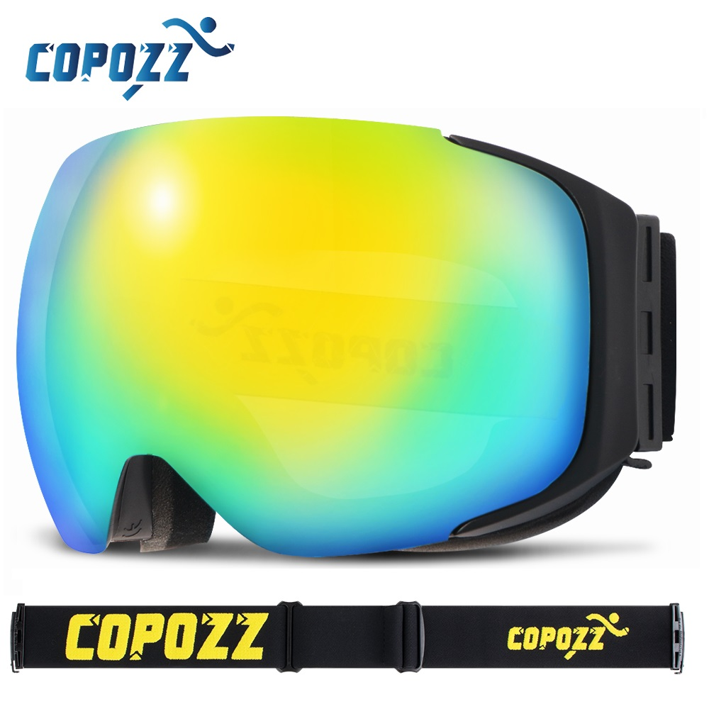 COPOZZ brand ski goggles replaceable magnetic lenses UV400 anti fog ski mask skiing men women snow