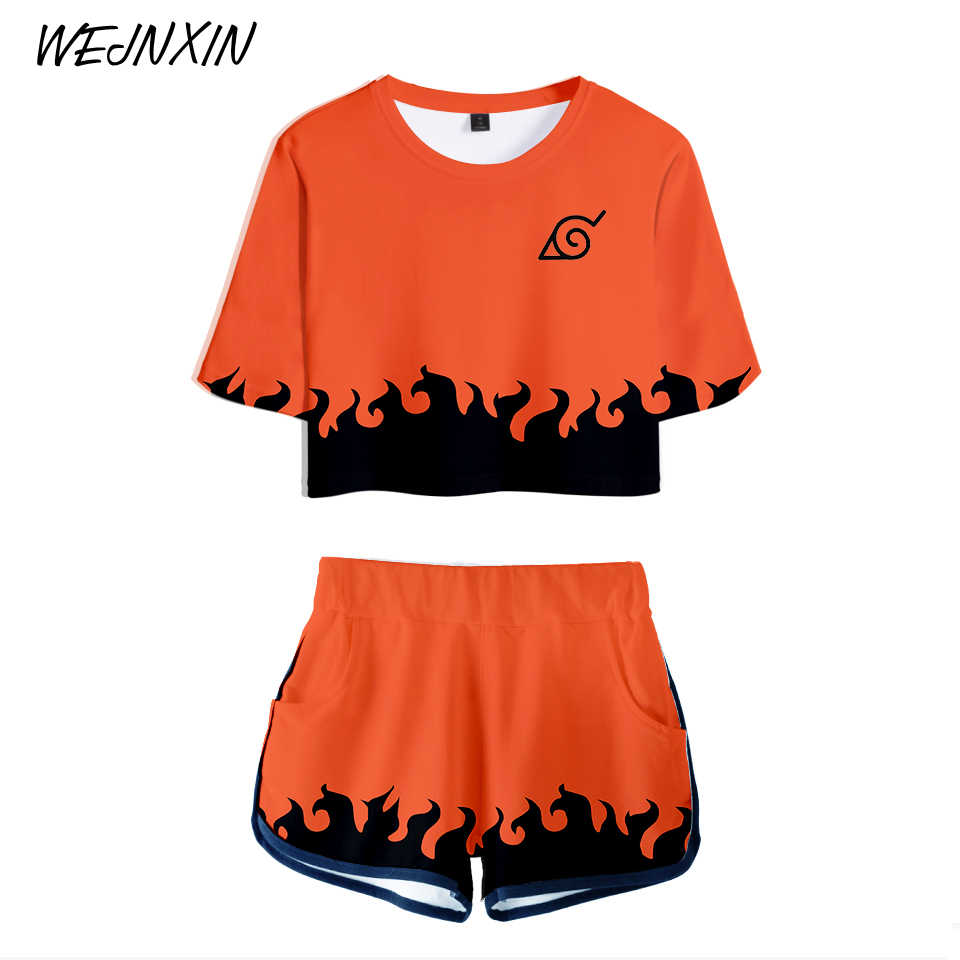 VAGROVSY 2018 3D Sexy Two Piece Set Women Summer Naruto Cosplay Crop Tops + Shorts Pants Elastic Waist Tracksuit Women