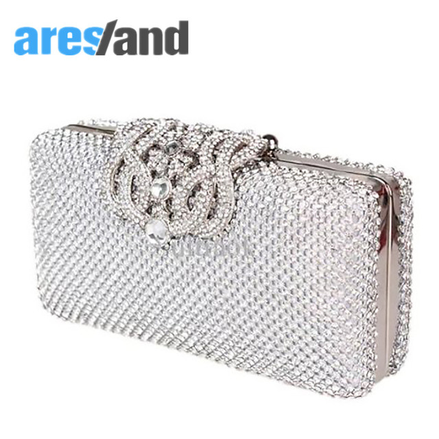 Aresland Noble Women Evening Clutch Ladies Bags Blinging Shimmering  Diamante Coated Bridal Wedding Prom Bag Purse e6aa45d4d250