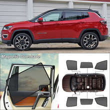 Car Side Windows Magnetic Sun Shade UV Protection Ray Blocking Mesh Visor For Jeep Compass Curtain Accessories