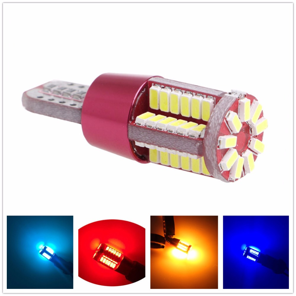 CYAN SOIL BAY 1PC T10 led 168 192 2825 w5w 57 SMD 3014 LED CANBUS Error Free Auto Wedge marker Light bulb Car Clearance lamp 12V 4pcs car w5w t10 led light 48 3014 smd side marker lamps warm white clearance lights bulb dc 12v