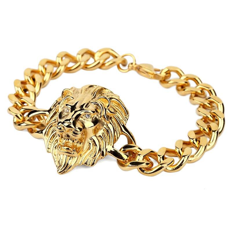 NYUK New Men\'s Cool Rock Lion Head Bracelet Cool Fashion Hip Hop ...