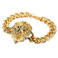 NYUK New Men S Gold Plated Lion Head Bracelet Cool Fashion Hip Hop Silver Gold Color