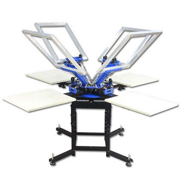 Plancher manuel 4 couleurs 4 poste de travail double machine d'impression d'écran de carrousel pour surface plane objets