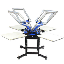floor standing manual 4 color 4 workstation double carousel screen printing machine for flat surface objects