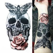 2016 21X15 CM Flor Do Crânio Com a Traça Ea Beleza Legal Tatuagem Temporária Tatuagem Adesivos À Prova D' Água Quente(China (Mainland))