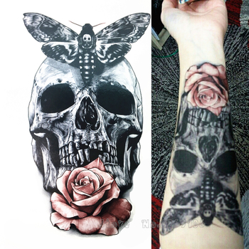 2016 21 X 15 CM Skull With Moth And Flower Cool Beauty Tattoo Waterproof Hot Temporary Tattoo Stickers