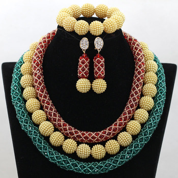 Splendid Red/Green Indian African Bridal Jewelry Set Hot Nigerian Wedding Costume Crystal Beads Necklace Set Free Shipping WA805