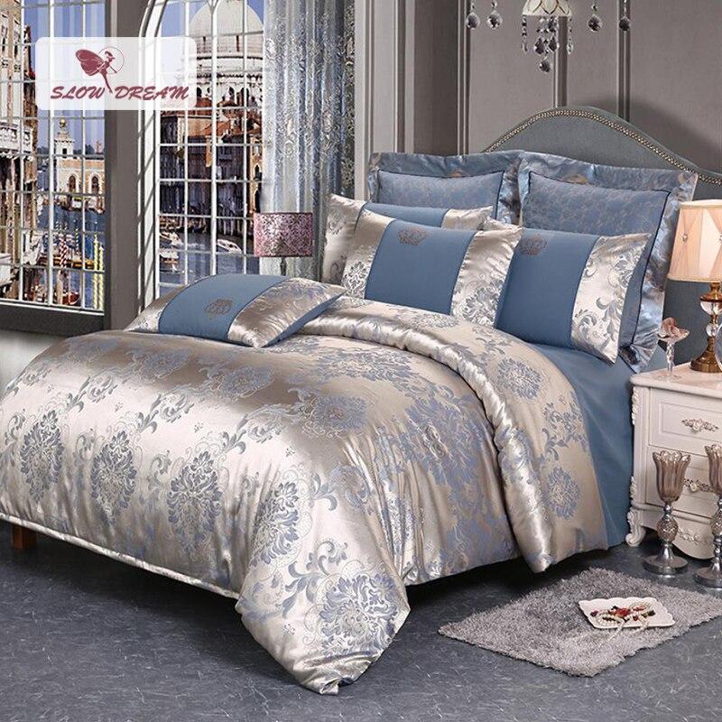 SlowDream  Luxury Bedding Set Silk Duvet Cover Set Bed Linen Euro Cotton Bedspread Bed Sheet Pillowcase Bed Sheet Double Queen