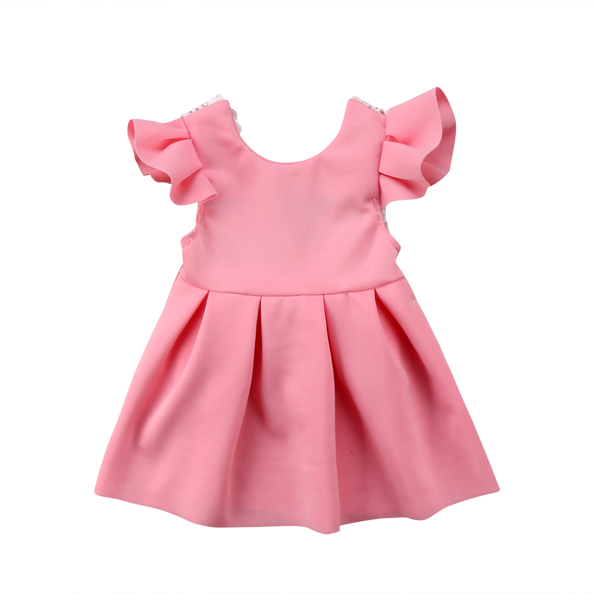 Backless Lace Big Bowknot Princess Dress Pink Baby Girls Toddler Ruffles Dresses Ball Gown Party Tulle Dress Sundress