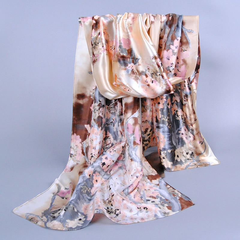 Women Pretty Long Soft Imitation Silk   Scarf     Wrap   1pcs