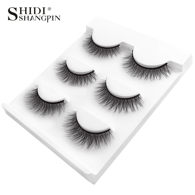 SHIDISHANGPIN 3 pairs mink eyelashes natural false lashes wispy 3d mink lashes makeup false eyelashes eyelash extension lashes 4