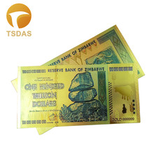 10pcs Gold Banknote Set 24k Plated Banknotes Foil Bill 100 Trillion World Currency Money Zimbabwe Collections Gift