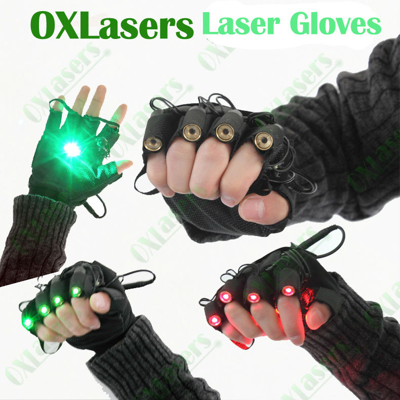 OXLasers Green Laser Gloves With 5 Pcs  Lasers Laser Dancing Pub Show Light DJ CLUB Party  With LED Palm Light  Free Shipping
