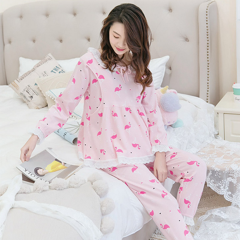 Nursing Pyjama Maternity Nightgown Breastfeeding Pajamas Korean Printing Pregnancy Clothes Nightdress Homewear Maternity SetA032