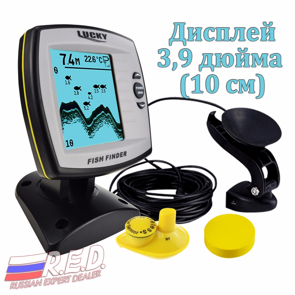цена на Lucky FF-918 N2 Russian Version Wireless/Wired Sensor Russian/English Menu with display 3.9 inch Fish Detector Rechargeable