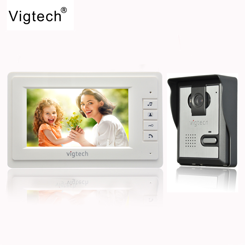 Vigtech 7 inch LCD Color Video door phone Intercom System Weatherproof Night Vision Camera Home font
