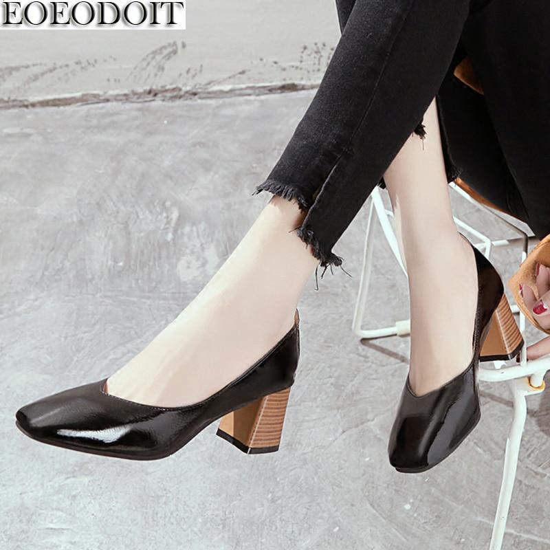 EOEODOIT Women Pumps Shoes Square Toe Sl