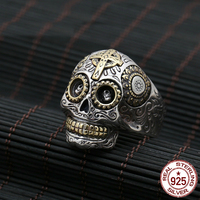 S925 sterling silver ring personality fashion jewelry vintage engraving cross sun flower skull head punk men's ring 2018 new hot