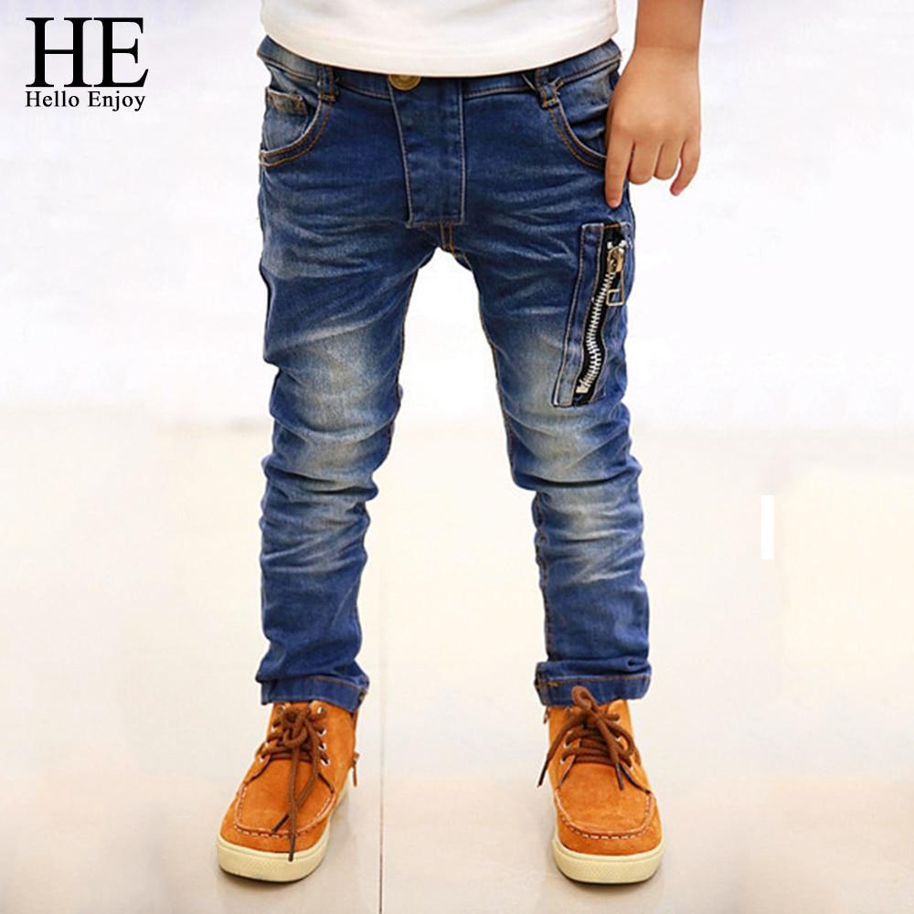 все цены на HE Hello Enjoy Boys Jeans Pants 2018 Fashion Boys Jeans For Spring Autumn Children's Denim Trousers Kids Dark Blue Designed Pant онлайн