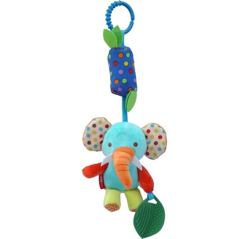 Baby Hanging Rattles Toys Cute Kids Hand Bell Plush Bed Stroller Hanging Toys Newborns Cartoon Elephant Dolls Children Gift