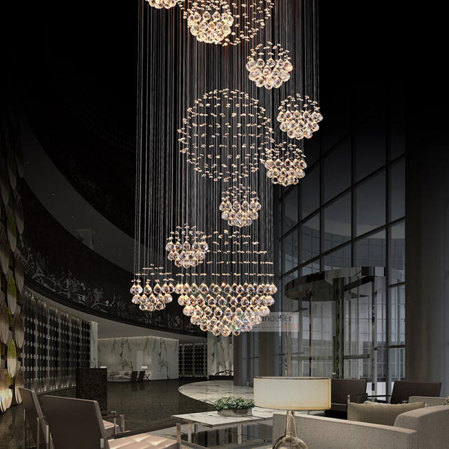 Various Sizes Fit 110 240v Modern Spiral Sphere Crystal Chandelier Staircase Raindrop Lighting Led Round Pendant Ceiling Lamp In Lights From
