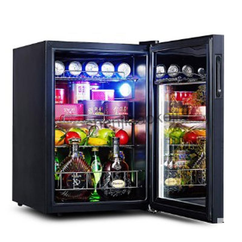62L Cold Storage Refrigerator Wine Refrigerators Transparent Glass Door Tea Drinks Freezers -5to10 Degrees C Food Sample Cabinet