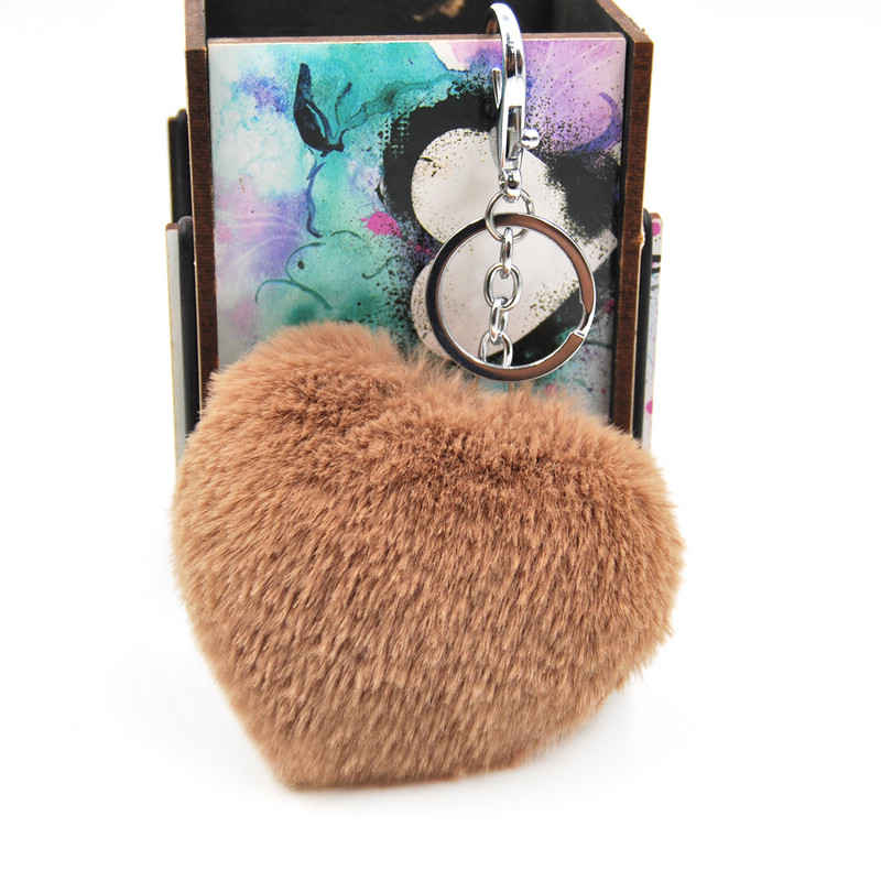 Faux Rex Rabbit Fur Heart Pom Ball Key Chain Ring New Fashion Fluffy Woman Bag Charms Keychain Man Car Keyring Jewelry Trinkets in Key Chains from Jewelry Accessories