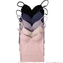 Free Shipping 2016 Hot Women Built In Bra Tank Tops Sexy Bra Cozy Healthy Modal Solid Camisole 6 Color Wholesales WI185