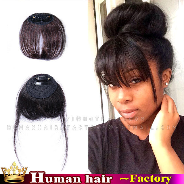 Clip In Fringe Black Human Real Hair Extensions Neat Bangs Front