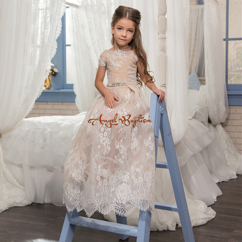 Cute New champagne flower girls dresses appliqued lace a-line with bead sash baby girl children party dress gowns for communion cute pink lace flower girl dresses sheer sleeves appliqued baby girl dress tiered toddler pageant birthday dress for party gowns