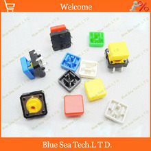 100 sets Tactile Push Button Switch+button Cap A14,12*12*7.3MM Micro tact switch seven color Free Shipping