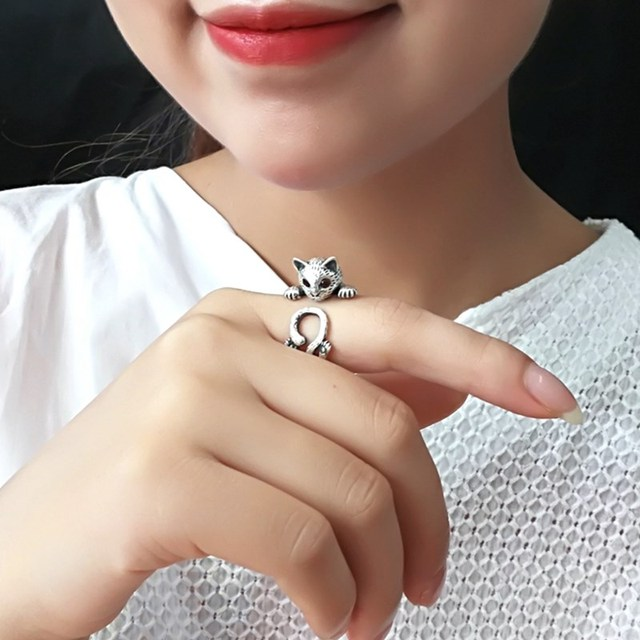 Romantic Style Luxury Silver Color Retro Cat Rings For Women Wedding Retro Adjustable Size Ring Party