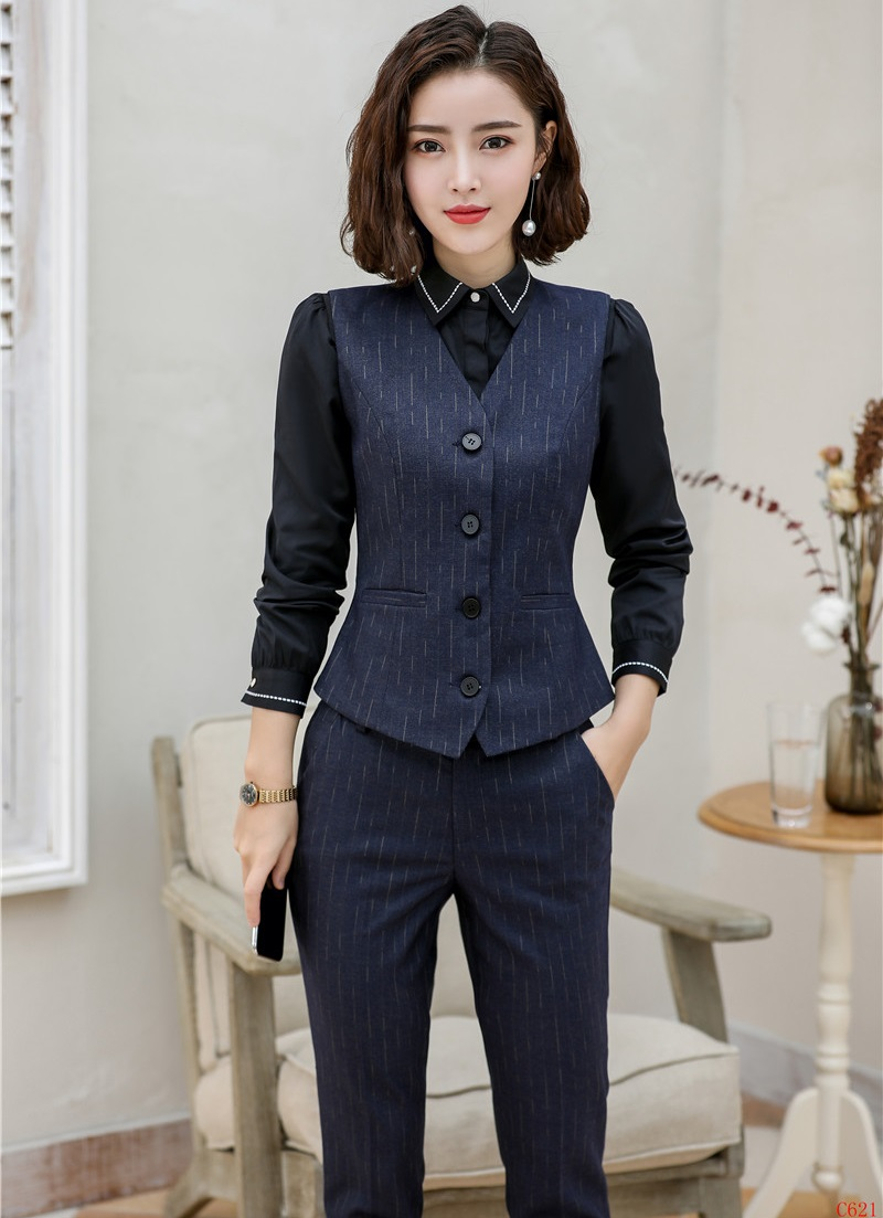 High Quality Fabric Formal Uniform Designs Pantsuits Vest Coat & Waistcoat Ladies Blazers Women Business Suits Work Wear Sets