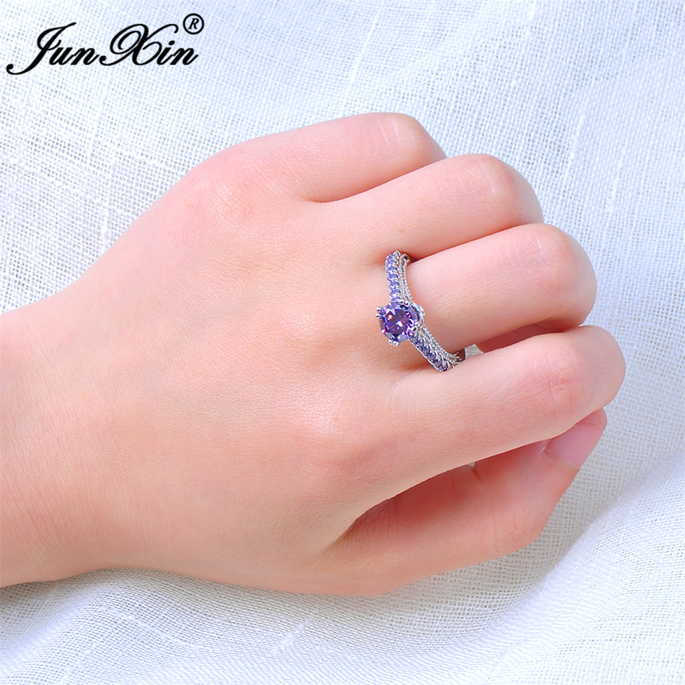 JUNXIN Fashion Small Purple Round Ring Love Jewelry White Gold Ring ...