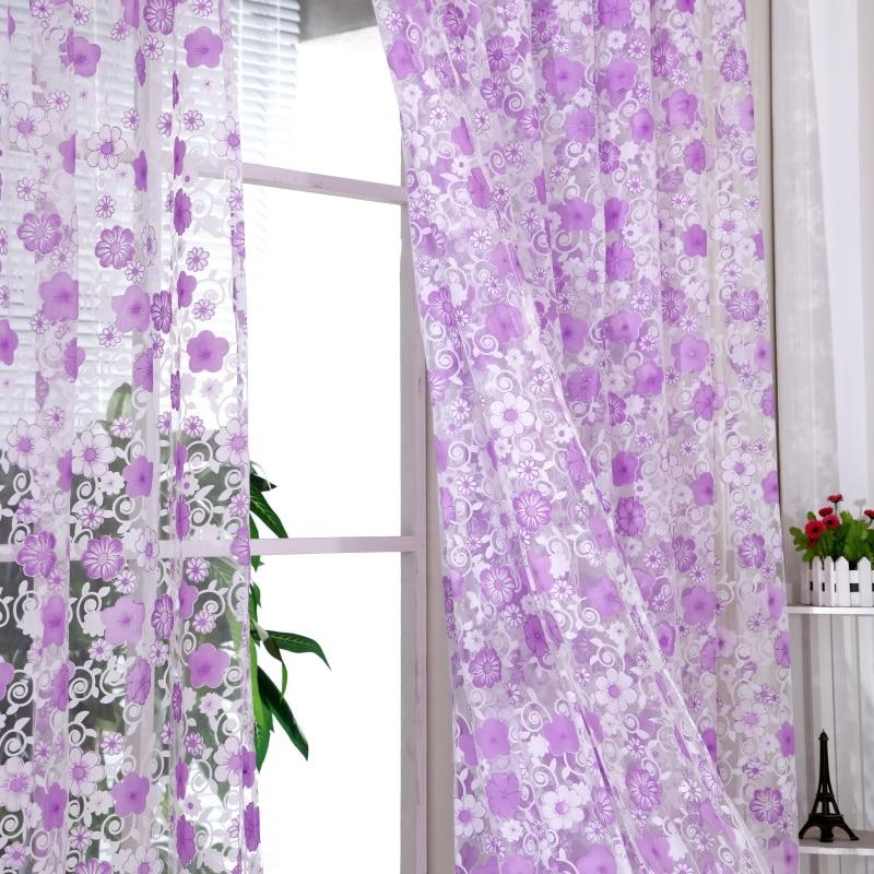 ᐂ95 cm x 200 cm Pastorale Bloemen Sjaals Sheer Voile Deur Gordijn ...