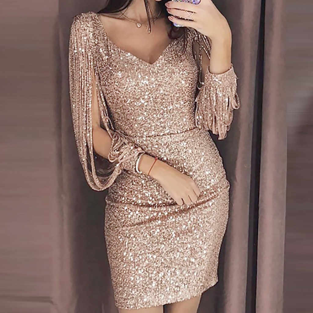 Women Sexy Solid Sequined Stitching Shining Club Sheath Long Sleeved Mini Dress  Women  Vestidos De Fiesta Robe Femme