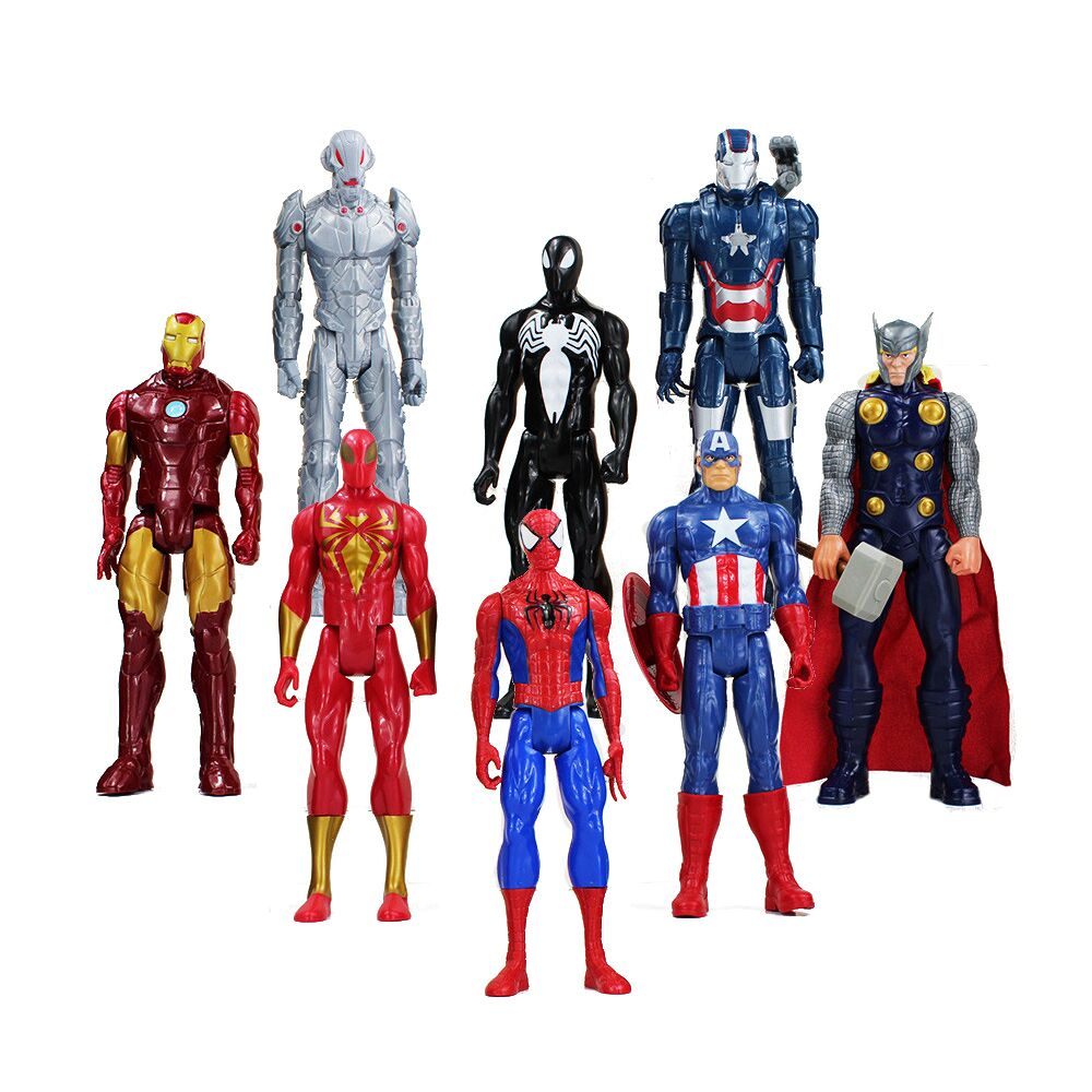 30cm Super Heroes The Iron Man Spider Man Captain American Thor Action Figure font b Toy