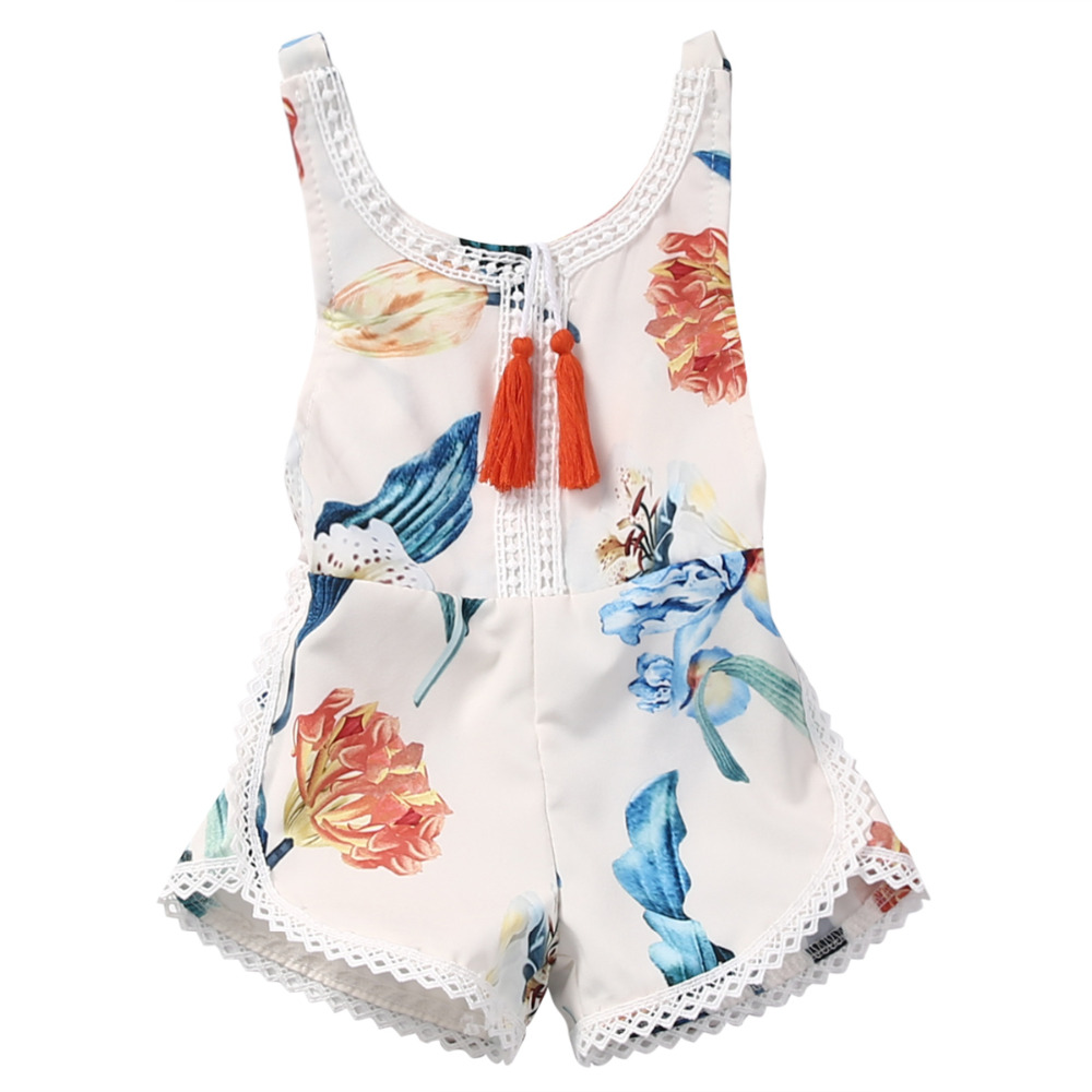 Cotton Newborn Baby Girl Sleeveless Lace Romper Summer Floral printing Backless Jumpsuit Clothes Sunsuit Outfits