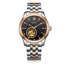 Hot Sale Freeshipping Skeleton Man Watches Steel Watchband Waterproof Saphire Dial Black Tourbillon Mechanic Mans Wristwatches