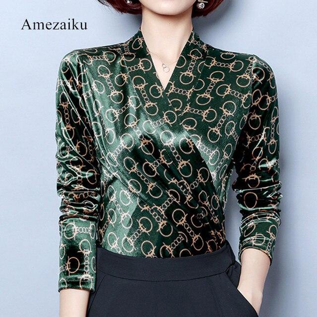 1d14129e1715a green Velvet Shirt Women Blouse Long Sleeve Ladies Tops Blouses Top Femme V  Neck Blusas Mujer office OL wear