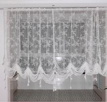 ZHH New Roman Window Curtain Panel White Lace Sheer Curtain for kitchen Embroidered Lving room Tulle