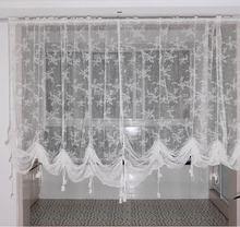 ZHH New Romantic Panel White Lace Adjustable Height Translucidus Pocket rod font b Curtain b font