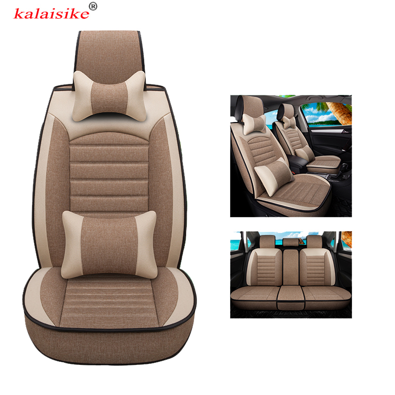 kalaisike universal Flax car seat covers for Mercedes Benz all models GLA E C CLA CLS S G GLS GLE GL ML A B CLK SLK GLK class car steering wheel emblem stickers for benz a b e s gle glk gla