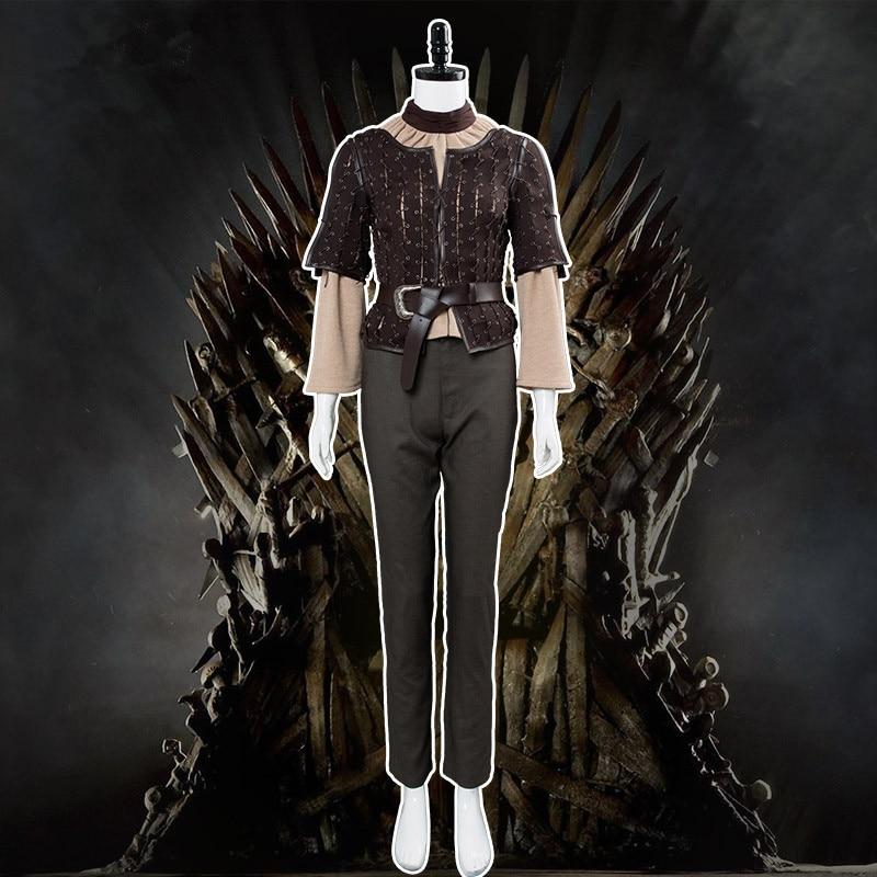 Disfraz de Cosplay de Juego de tronos Arya Stark, chaqueta marrón de cuello alto, pantalones, cinturón, marco de batalla, Halloween, Carnaval, navidad